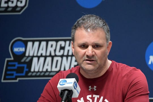 Mar 20, 2019; Salt Lake City, UT, USA; New Mexico State Aggies coach Chris Jans during a press conference  before the first round of the 2019 NCAA Tournament at Vivint Smart Home Arena. Mandatory Credit: Kirby Lee-USA TODAY Sports