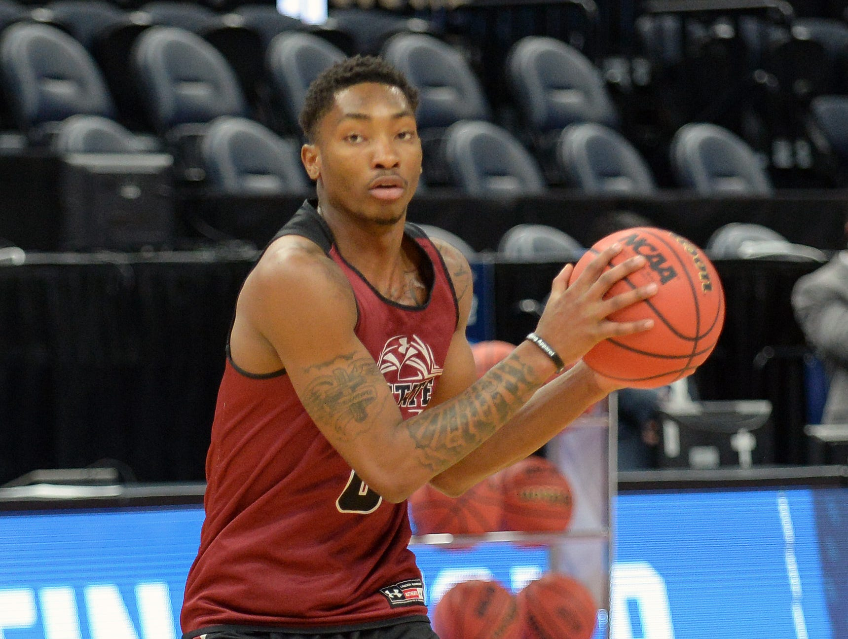 March 20, 2019; Salt Lake City, UT, USA; New Mexico State Aggies forward Berrick JeanLouis (0) during practice before the first round of the 2019 NCAA Tournament at Vivint Smart Home Arena. Mandatory Credit: Gary A. Vasquez-USA TODAY Sports