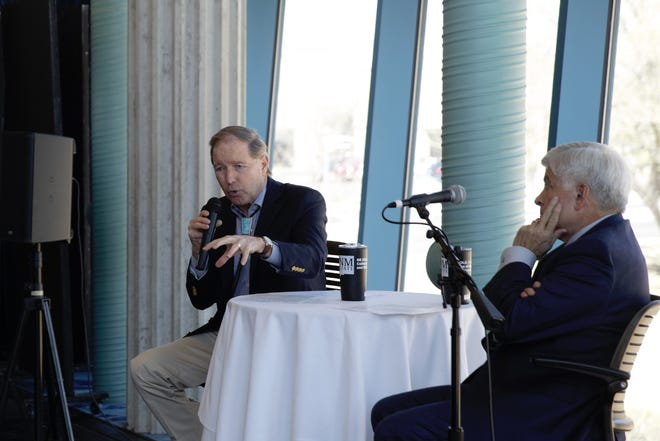 U.S. Senator Tom Udall, D-N.M., left, talks to students and community members at New Mexico State University on Wednesday, March 20, 2019. At right is NMSU Chancellor Dan Arvizu.
