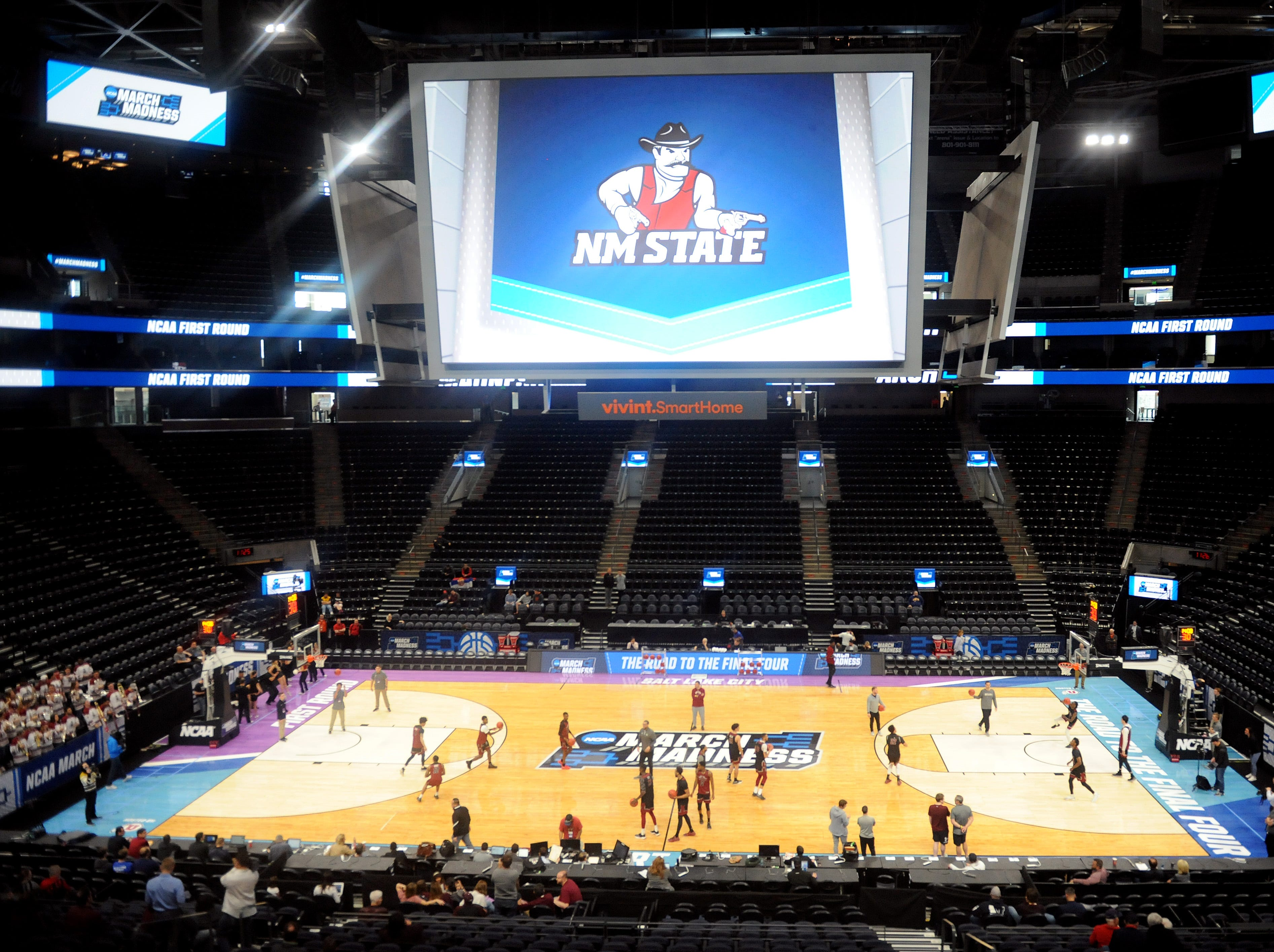 March 20, 2019; Salt Lake City, UT, USA; General view as New Mexico State Aggies practices before the first round of the 2019 NCAA Tournament at Vivint Smart Home Arena. Mandatory Credit: Gary A. Vasquez-USA TODAY Sports