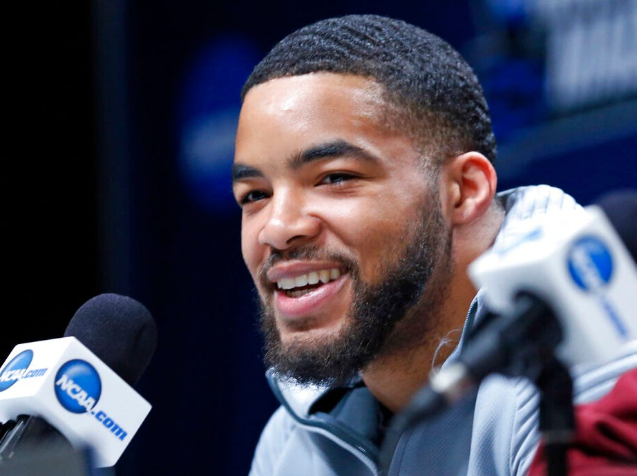New Mexico State's Shunn Buchanan speaks during a news conference at the NCAA men's college basketball tournament Wednesday, March 20, 2019, in Salt Lake City.