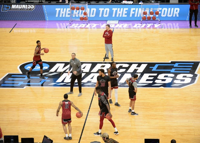 March 20, 2019; Salt Lake City, UT, USA; General view as New Mexico State Aggies head coach Chris Jans watches practice before the first round of the 2019 NCAA Tournament at Vivint Smart Home Arena. Mandatory Credit: Gary A. Vasquez-USA TODAY Sports