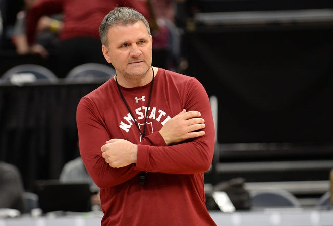 March 20, 2019; Salt Lake City, UT, USA; New Mexico State Aggies head coach Chris Jans during practice before the first round of the 2019 NCAA Tournament at Vivint Smart Home Arena. Mandatory Credit: Gary A. Vasquez-USA TODAY Sports