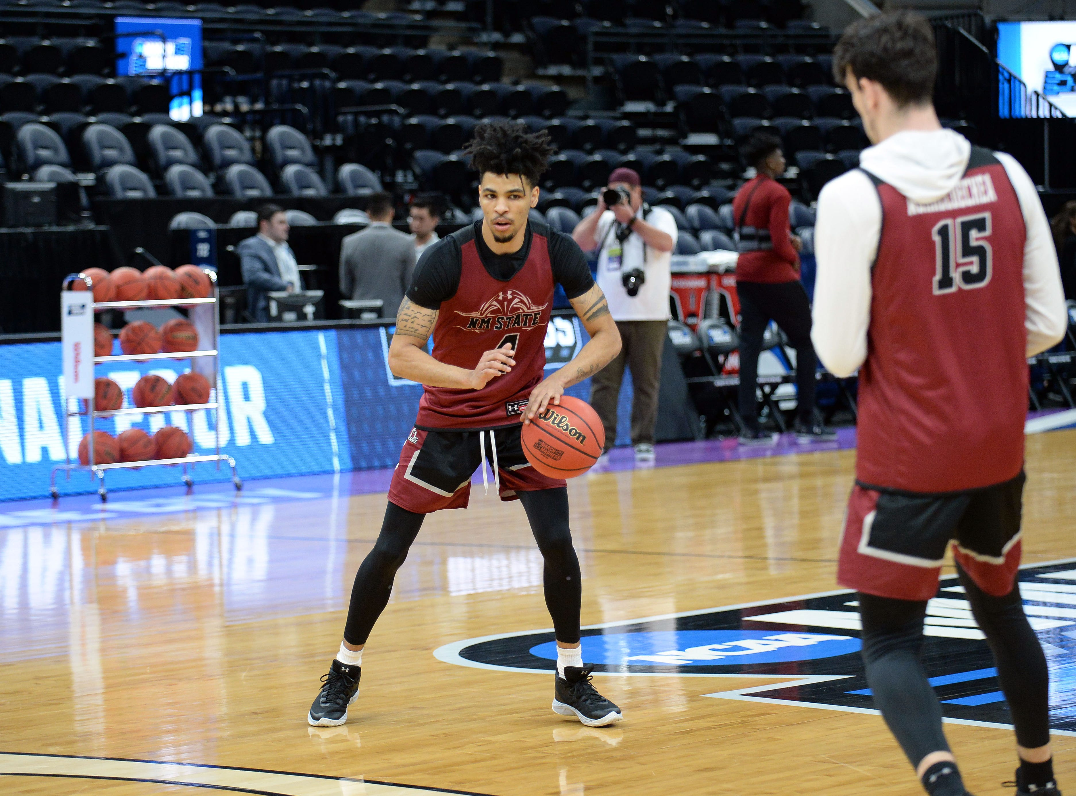 March 20, 2019; Salt Lake City, UT, USA; New Mexico State Aggies guard JoJo Zamora (4) during practice before the first round of the 2019 NCAA Tournament at Vivint Smart Home Arena. Mandatory Credit: Gary A. Vasquez-USA TODAY Sports