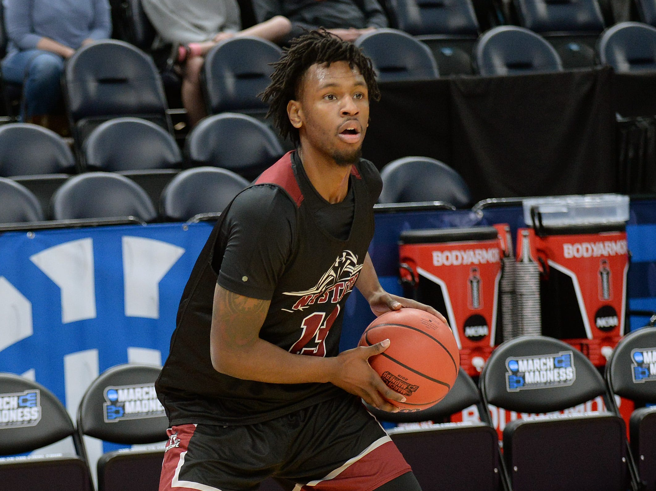 March 20, 2019; Salt Lake City, UT, USA; New Mexico State Aggies forward C.J. Bobbitt (13) during practice before the first round of the 2019 NCAA Tournament at Vivint Smart Home Arena. Mandatory Credit: Gary A. Vasquez-USA TODAY Sports