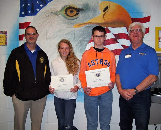Principal Steven Starkovich, Kaitlynn Hungate, Zach Oian, and Kiwanis Ned Kline; not available for picture – Rowan Wachtler.