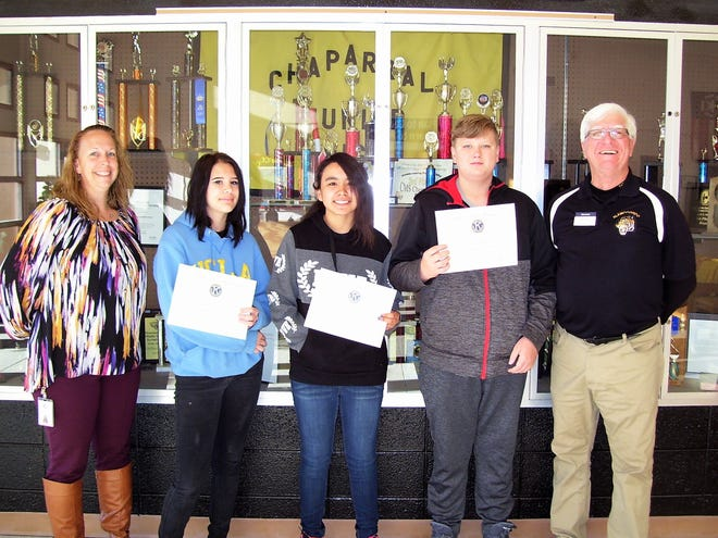 Assistant Principal April Shay, Sterling Smarr,  Jessical Lorretto,  Mathew West, and Kiwanis Ned Kline.