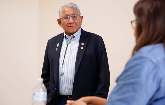 State Rep. Anthony Allison, D-San Juan, listens to comments about situations female veterans face after leaving military service on Wednesday at the Northern Navajo Veterans Center in Shiprock.