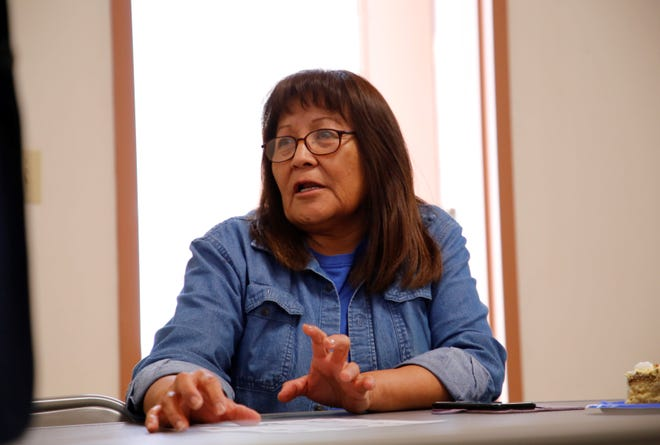 U.S. Army veteran Cecelia B. Finona talks about problems veterans often have when applying for services on Wednesday at the Northern Navajo Veterans Center in Shiprock.