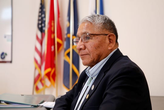 State Rep. Anthony Allison, D-San Juan, listens to remarks about social issues female veterans face on the Navajo Nation on Wednesday at the Northern Navajo Veterans Center in Shiprock.