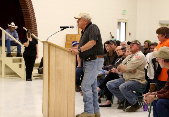Former Sheriff Ken Christesen speaks Tuesday during a public forum in Aztec.