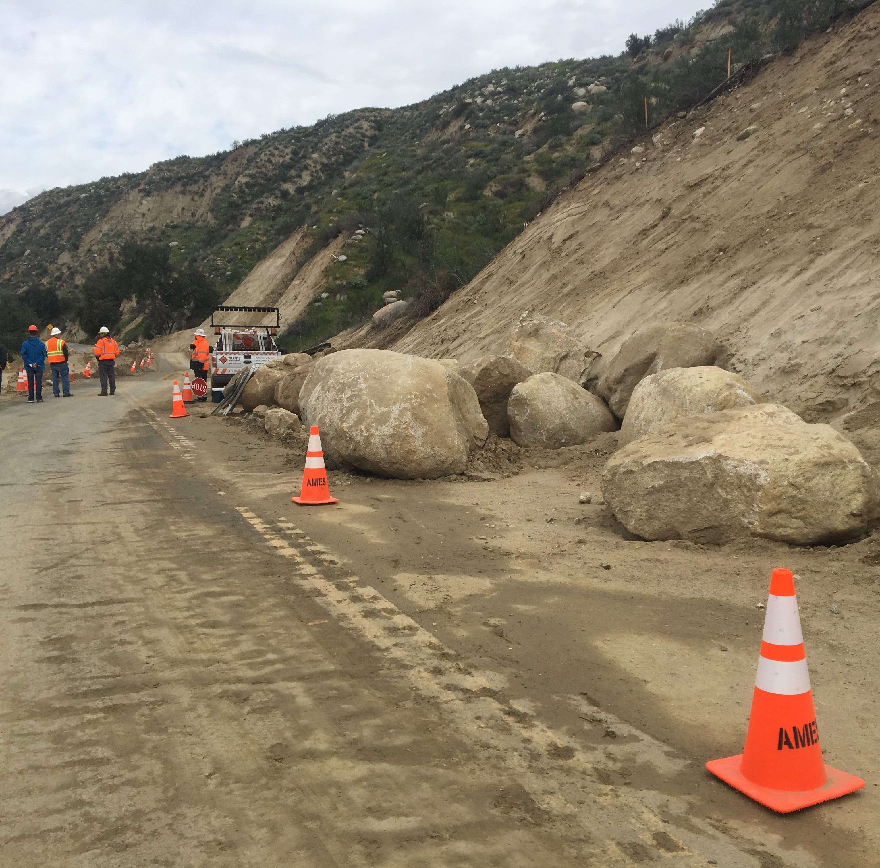 Highway 74 to get escorted access between Idyllwild and Hemet. Here's how the road looks now