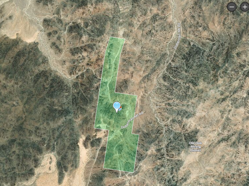 Land map shows the extent of the 10297 property for sale at 10297 Gold Crown Road, Wonder Valley