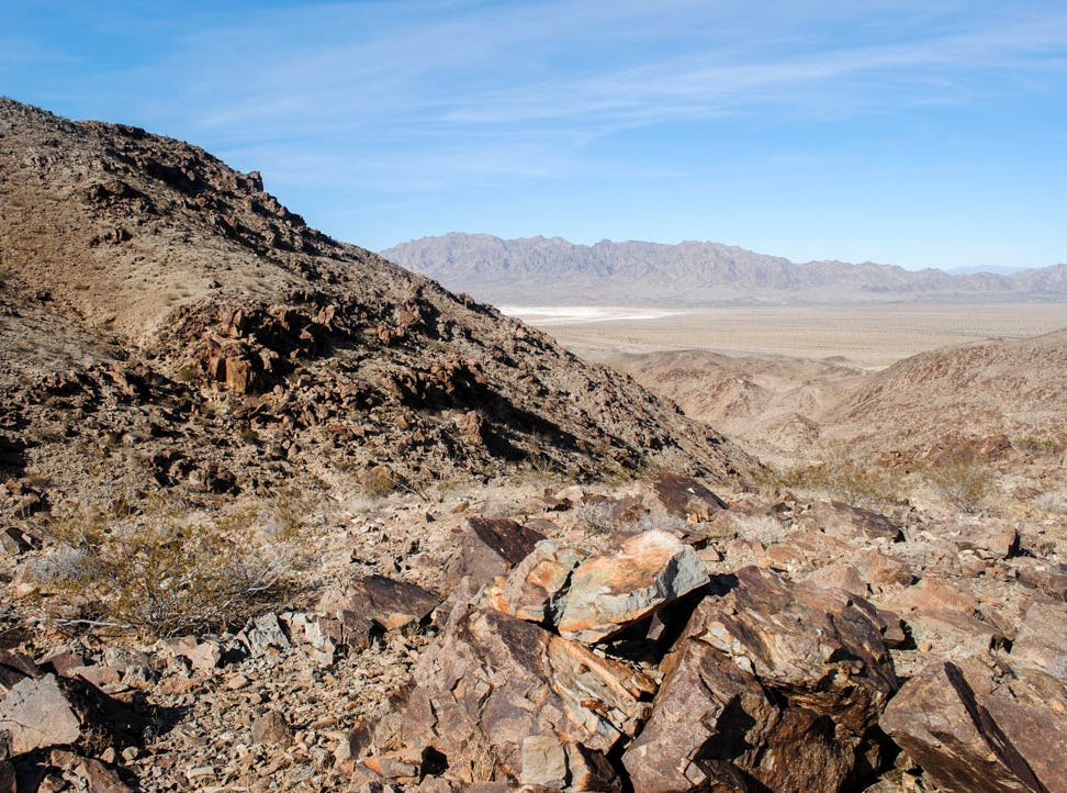 The property at 10297 Gold Crown Road, Wonder Valley consists of rocky desert hills