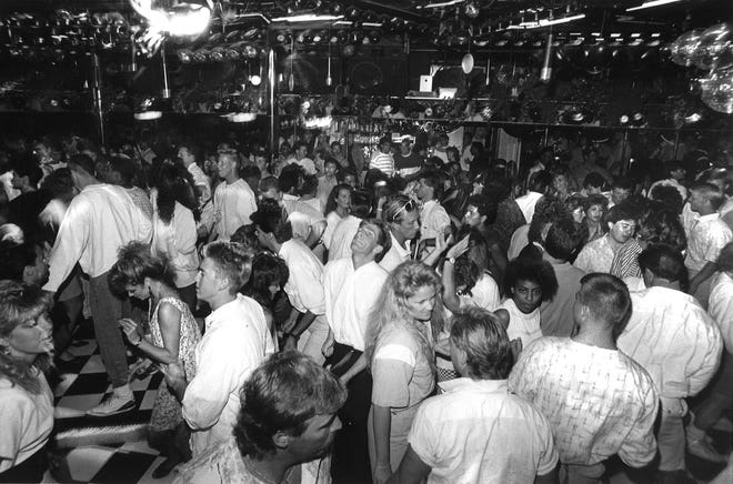 Dancing at Zelda's, Spring Break in Palm Springs, 1988.