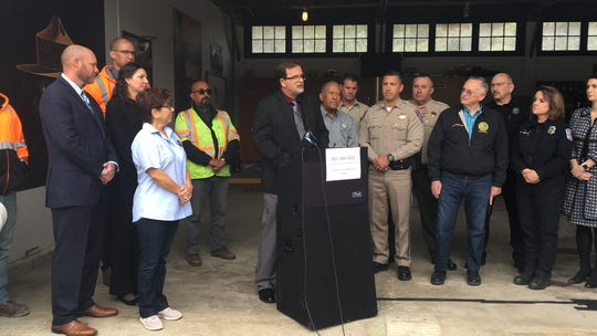 Caltrans District 8 Director Michael Beauchamp speaks during a press conference near Hemet on March 20. Officials discussed efforts to reopen Highways 243 and 74, which had been closed since Feb. 14 because of a storm.