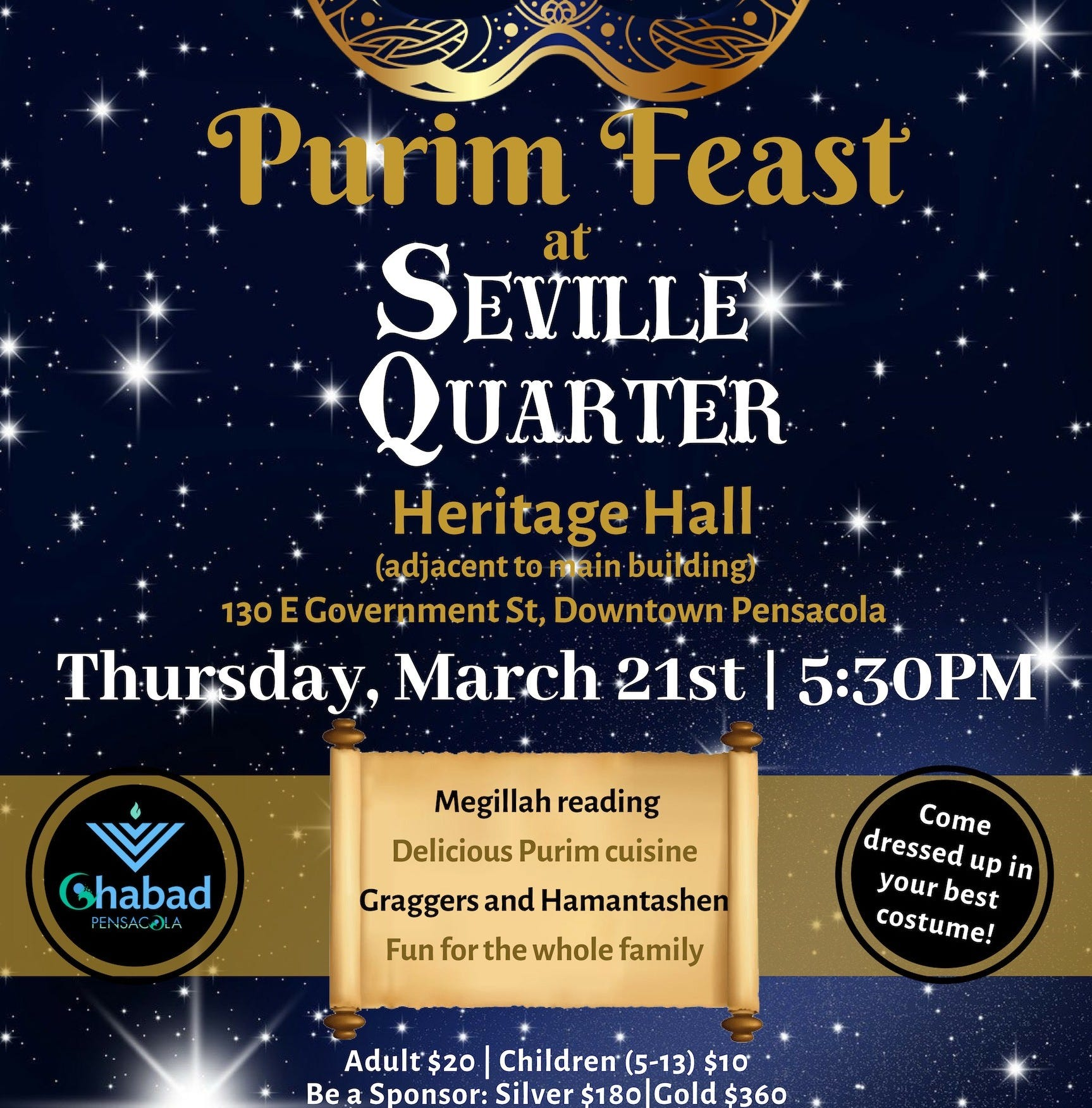 Pensacola celebrates Purim holiday at Seville with feast, gifts and costume