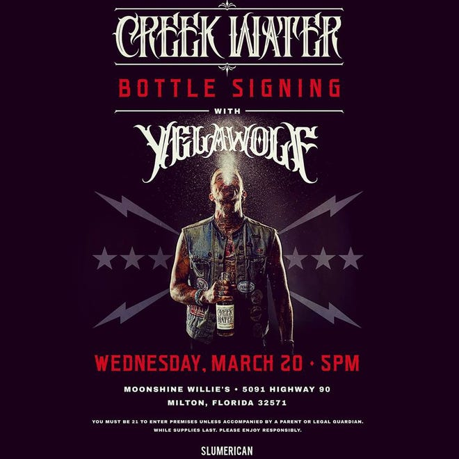 Yelawolf will be in Milton Wednesday to sign bottles of his own Creek Water Whiskey.