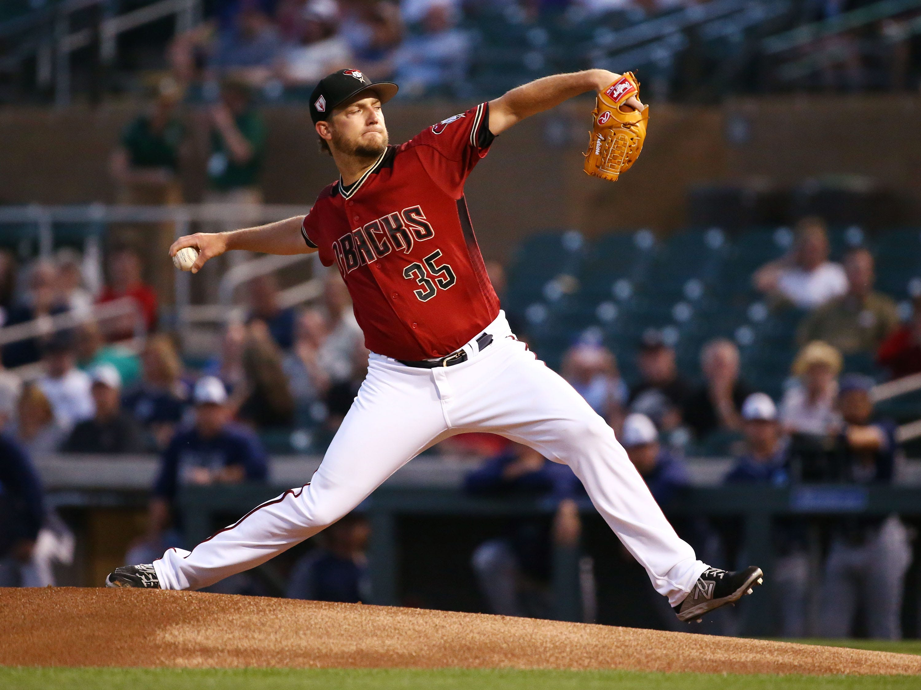 Arizona Diamondbacks Matt Andriese against the San Diego Padres in the 1st inning during a spring training game on Mar. 19, 2019 at Salt River Fields in Scottsdale, Ariz.