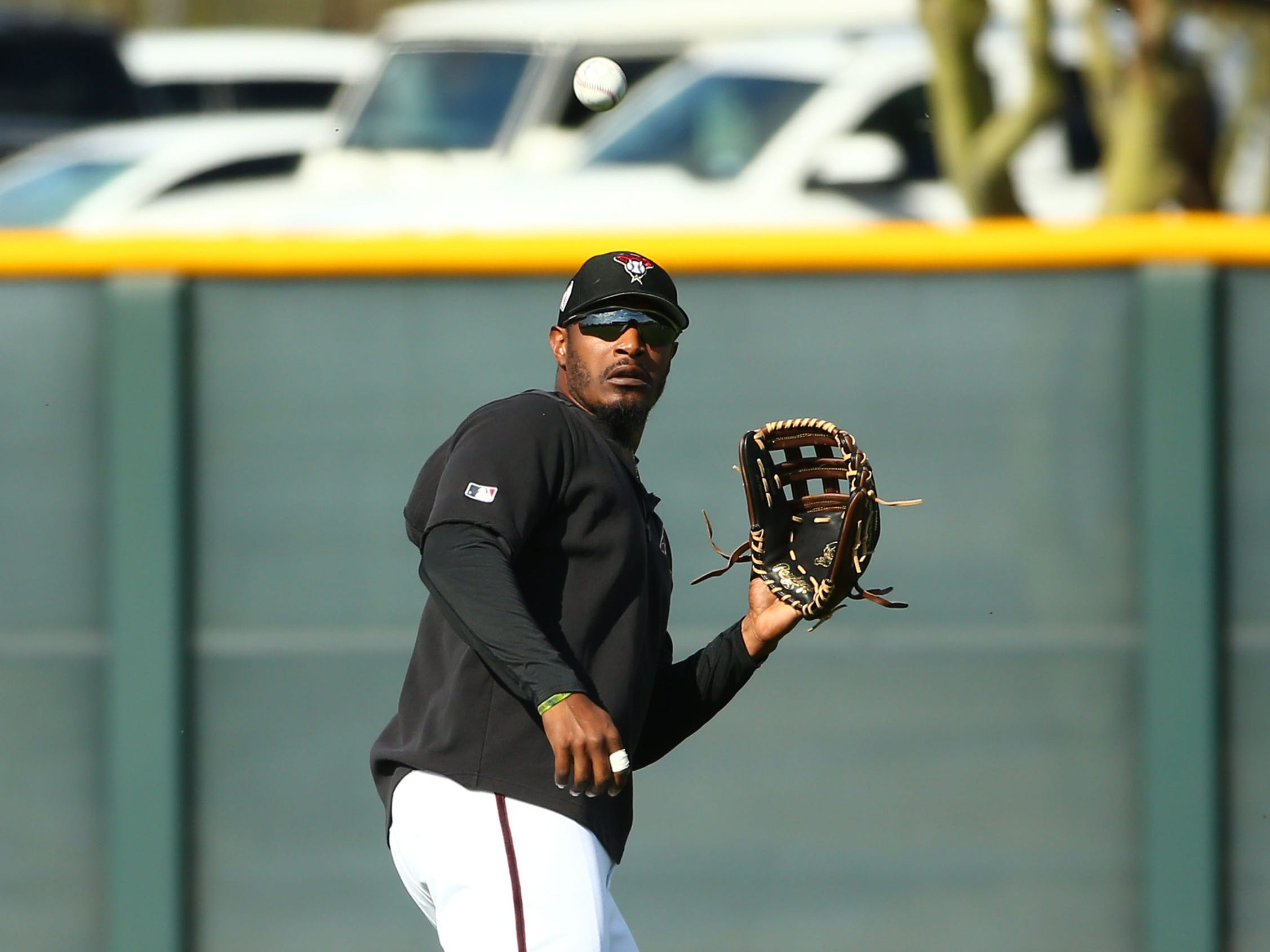 Arizona Diamondbacks outfielder Adam Jones during spring training work-outs on Mar. 19, 2019 at Salt River Fields in Scottsdale, Ariz.