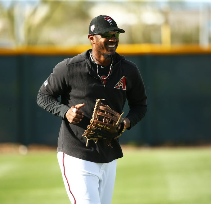 Arizona Diamondbacks outfielder Adam Jones during spring training work-outs on Mar. 19, 2019 at Salt River Fields in Scottsdale, Ariz.