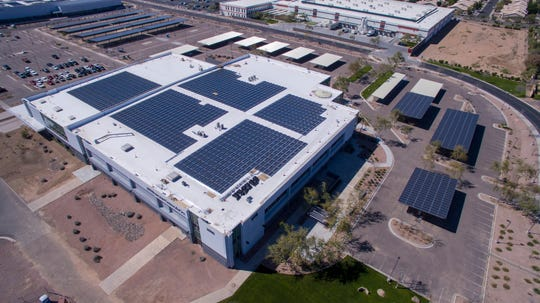 Solar panels at Chase's new south Tempe campus will help cut electricity use by one-third.