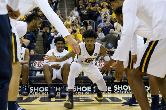 Murray State's Ja Morant (12) is introduced as a starter before the Ohio Valley Conference tournament semifinal against the Jacksonville State University Gamecocks at Ford Center in Evansville, Ind., Friday, March 8, 2019. (Sam Owens/Evansville Courier & Press via AP)