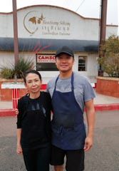 Reathrey Sekong owner Lakhana In and her son-in-law, Det Bounyasane, outside Reathrey Sekong.