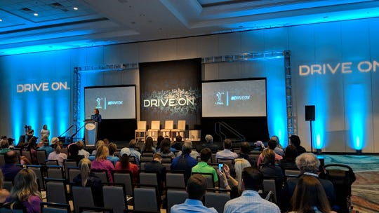 """LPGA officials announce its new empowerment video, titled """"Drive On,"""" at a news conference Wednesday in Phoenix."""