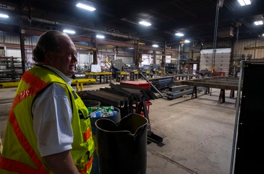 Campbell & Shaw Steel, Inc. vice president Mark Lietke stands inside the company's original 5000-square foot shop Tuesday, March 19, 2019 at the plant in Marysville. Since expanding, the shop has been converted into storage space.