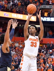 Syracuse Orange forward Elijah Hughes takes a jump shot against the Pittsburgh Panthers in the second half at the Carrier Dome on Jan. 19.