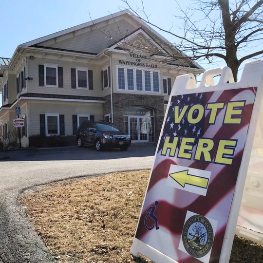 A voting sign outside the village hall in Wappingers Falls on March 19, 2019.