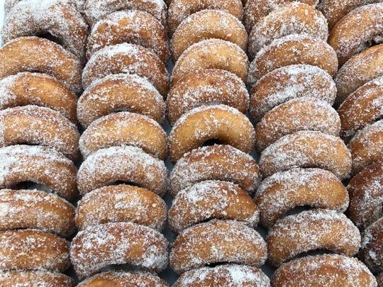 A spread of apple cider doughnuts from Adams Fairacre Farms.