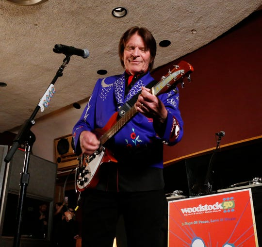 John Fogerty performs after Tuesday's announcement of the Woodstock 50 line up at Electric Lady Studios in New York City on March 19, 2019. Fogerty is playing the guitar he played at the 1969 Woodstock Music & Art Festival.