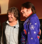Michael Lang and John Fogerty following Tuesday's announcement of the Woodstock 50 line up at Electric Lady Studios in New York City on March 19, 2019.