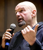 Lt. Gov. John Fetterman speaks during his statewide listening tour Tuesday, March 19, 2019. Fetterman is holding a series of town hall meetings to hear residents' opinions on legalized recreational marijuana. Over 200 attended the event at DeMeester Recital Hall at York College. Bill Kalina photo