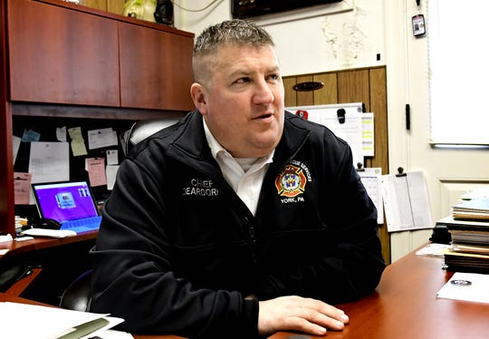 York City Fire Chief Chad Deardorff talks in his office, Monday, March 18, 2019, about the community's support after two York City firefighters died in the line of duty last year. Bill Kalina photo