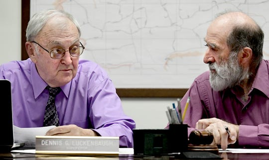 North Codorus Township supervisors Dennis Luckenbaugh, left, and Nelson Brenneman confer during the board's monthly meeting Tuesday, March 19, 2019. In October, supervisors submitted their intent to abandon the service of the Southwestern Regional Police by the end of 2019, citing rising costs as the reason behind the departure. Bill Kalina photo
