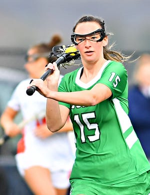 Chloe MacDonald scored five goals on Wednesday for York College in an 18-3 women's lacrosse victory over Widener.