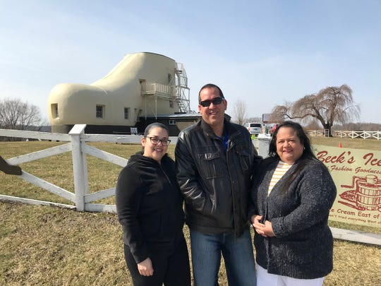 Glenda Colon, of Lancaster County, brought her mom, Nolka Maldonado, and stepdad, Carmelo Pandora, who are visiting from Orlando, to see the shoe house. They were the first visitors of the new season.