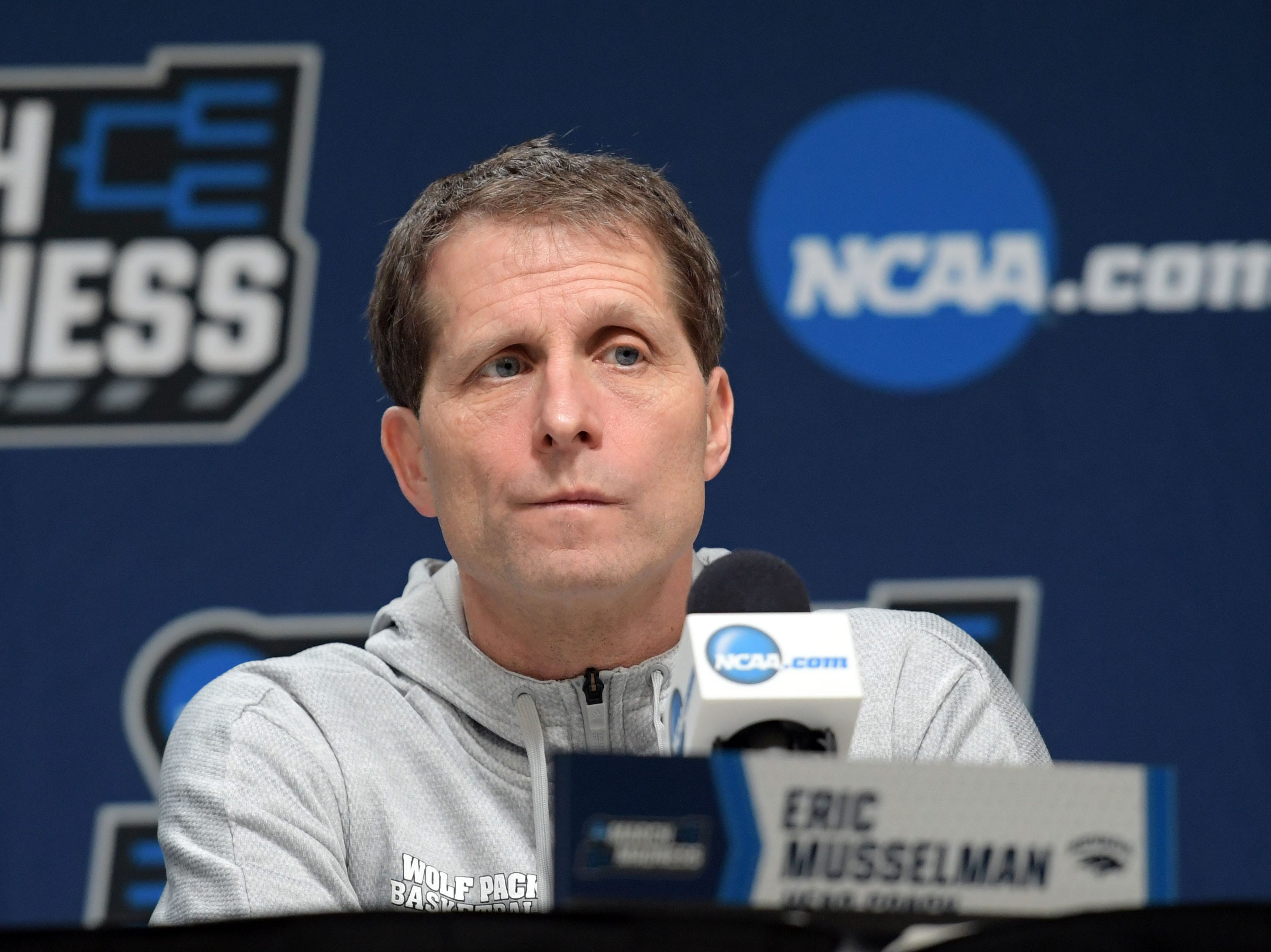 Mar 20, 2019; Des Moines, IA, USA; Nevada Wolf Pack head coach Eric Musselman speaks during a press conference during practice before the first round of the 2019 NCAA Tournament at Wells Fargo Arena. Mandatory Credit: Steven Branscombe-USA TODAY Sports