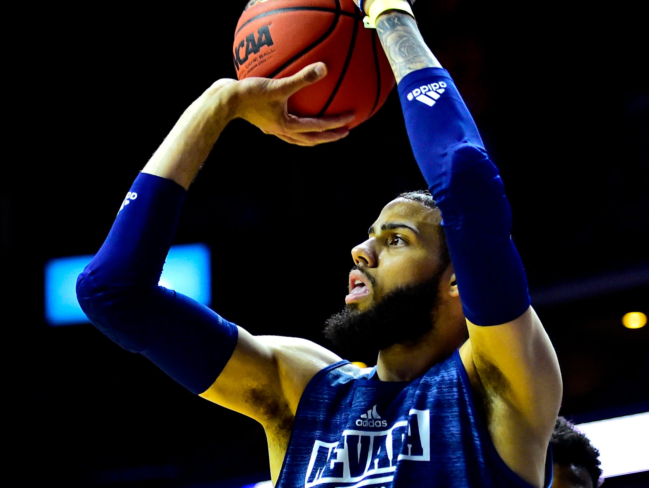 Mar 20, 2019; Des Moines, IA, USA; Nevada Wolf Pack forward Cody Martin (11) shoots the ball during practice before the first round of the 2019 NCAA Tournament at Wells Fargo Arena. Mandatory Credit: Jeffrey Becker-USA TODAY Sports