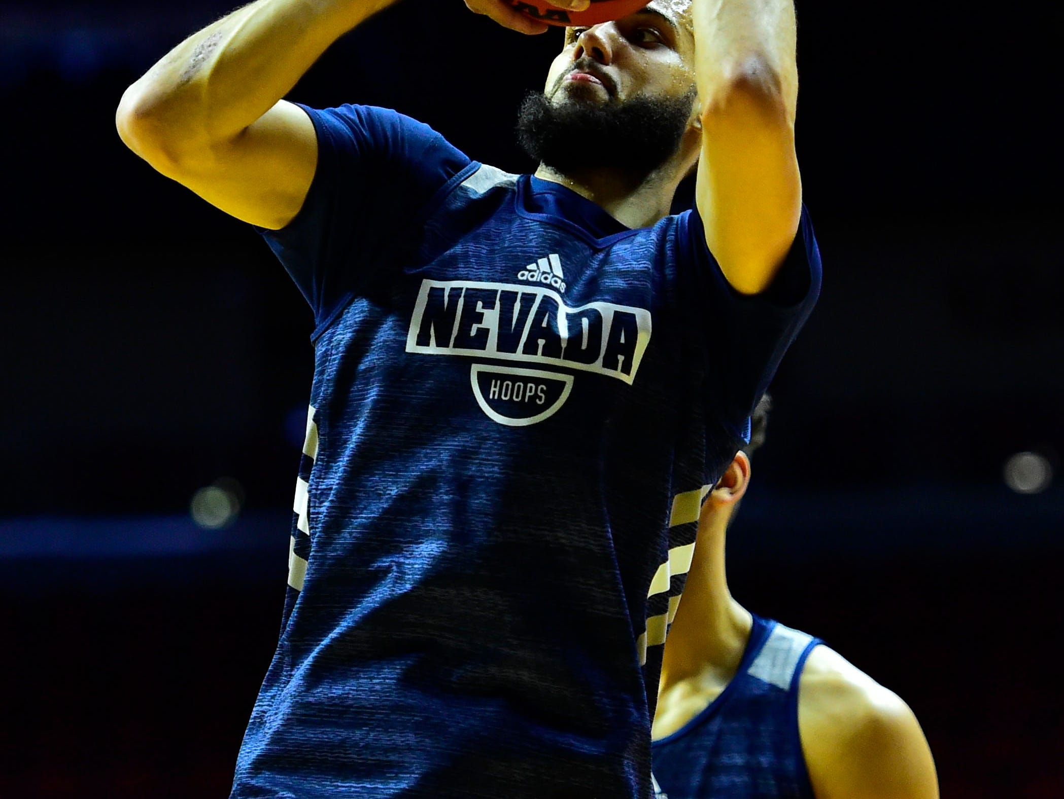 Mar 20, 2019; Des Moines, IA, USA; Nevada Wolf Pack forward Caleb Martin (10) shoots the ball during practice before the first round of the 2019 NCAA Tournament at Wells Fargo Arena. Mandatory Credit: Jeffrey Becker-USA TODAY Sports