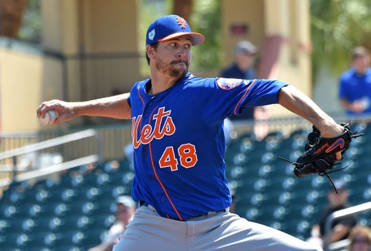 Reigning Cy Young Award winner Jacob deGrom , shown pitching in a spring training game against the Marlins, and the New York Mets will be at the Carrier Dome in Syracuse for an open practice on Tuesday, March 26.