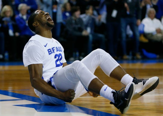 Buffalo guard Dontay Caruthers (22) celebrates after being fouled during the second half of an NCAA college basketball game against Eastern Michigan, Friday, Jan. 18, 2019, in Buffalo N.Y.