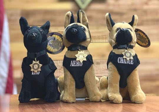 The Anderson Police Department is selling stuffed animals of its K-9s: Iro, Aero and Chance. They're $20 each or all three for $50. Proceeds go to the department's K-9 fund.