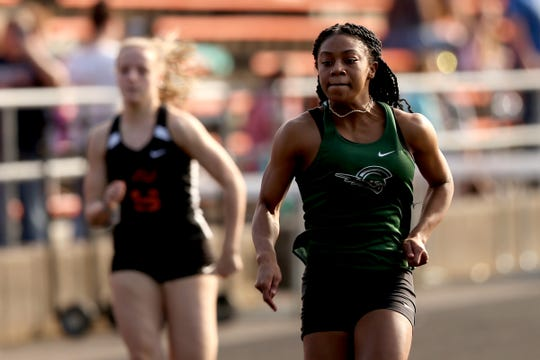 West Salem's Lucy Jolivette competes in the girls 100 meter dash in the West Salem vs. Monroe vs. Sprague track and field meet at Sprague High School in Salem on March 19, 2019.