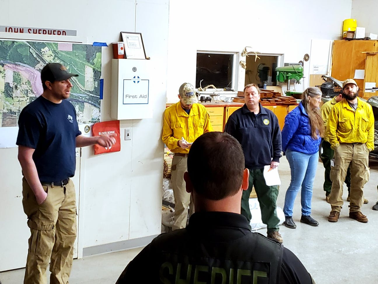 Responders attend a morning briefing for the Santiam Park Fire Wednesday morning. About 75 personnel are on scene to battle the blaze on March 20, 2019.