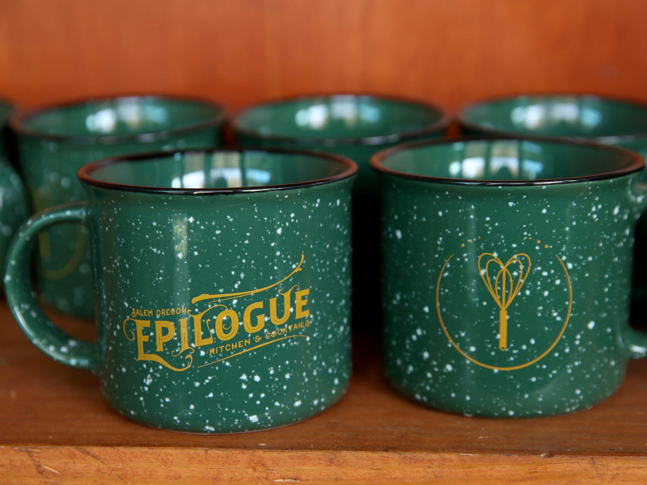 Mugs available at Epilogue Kitchen & Cocktails in Salem on March 20, 2019. The restaurant opens in downtown Salem on Friday.