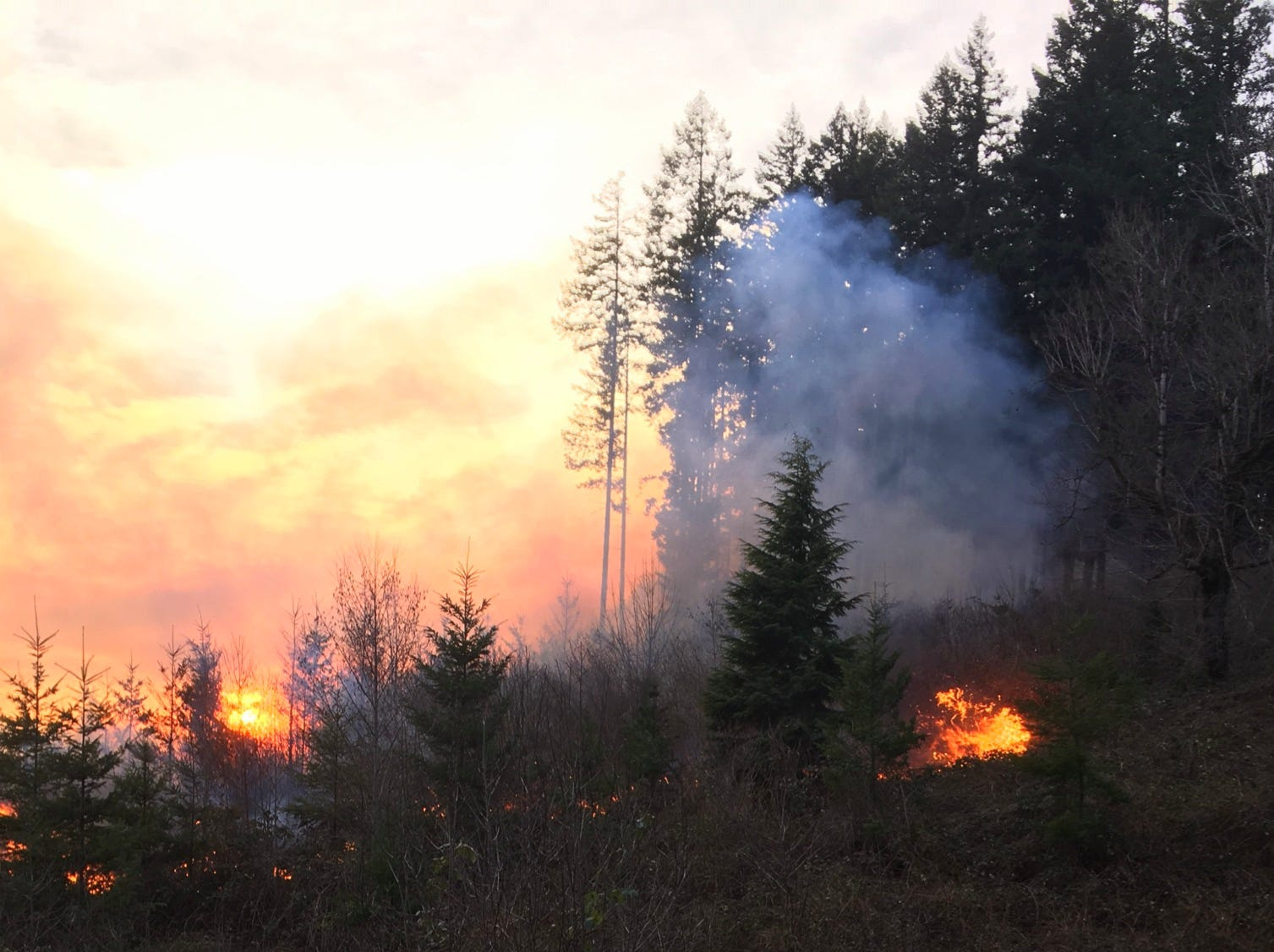 A merged wildfire near Lyons was at 60 acres as of Tuesday evening.